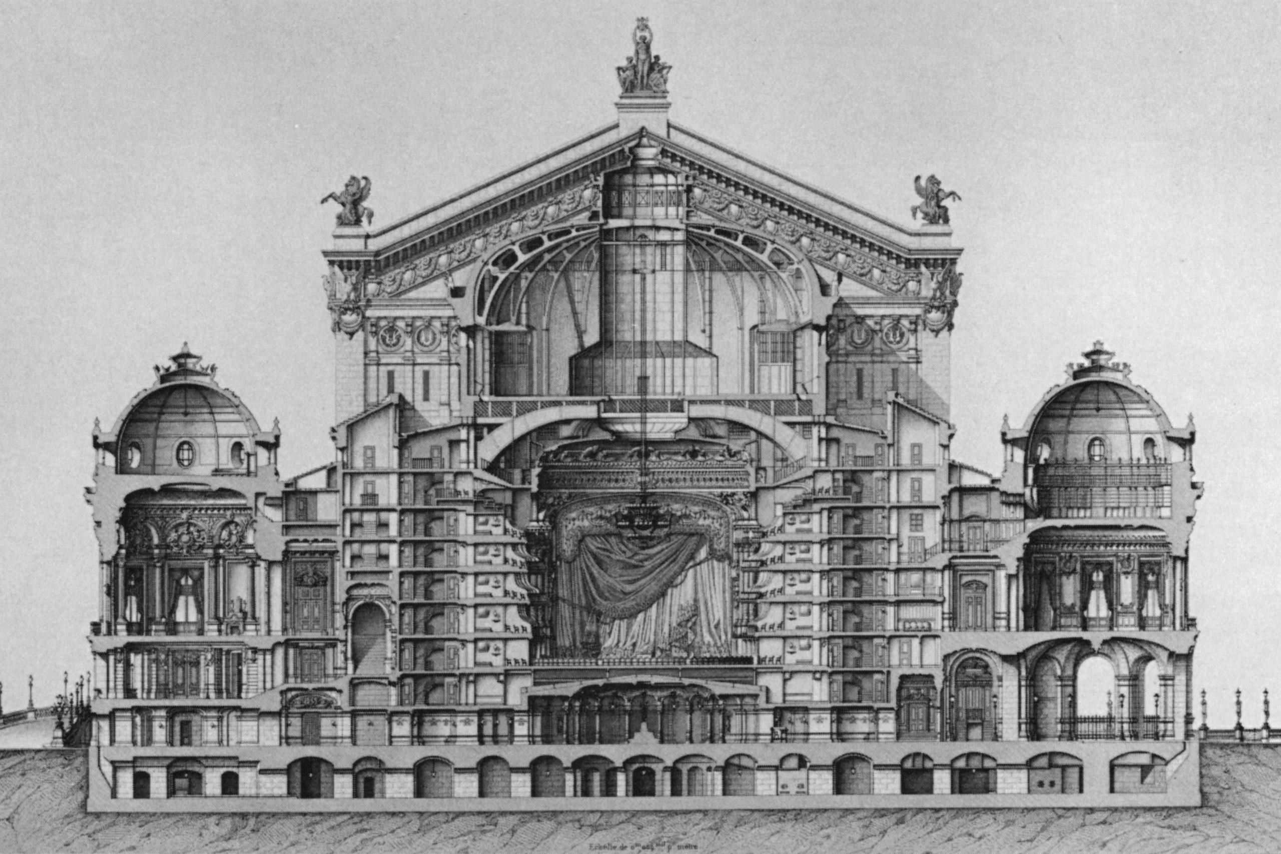 Transverse section at the auditorium and pavilions of the Paris Opera's Palais Garnier