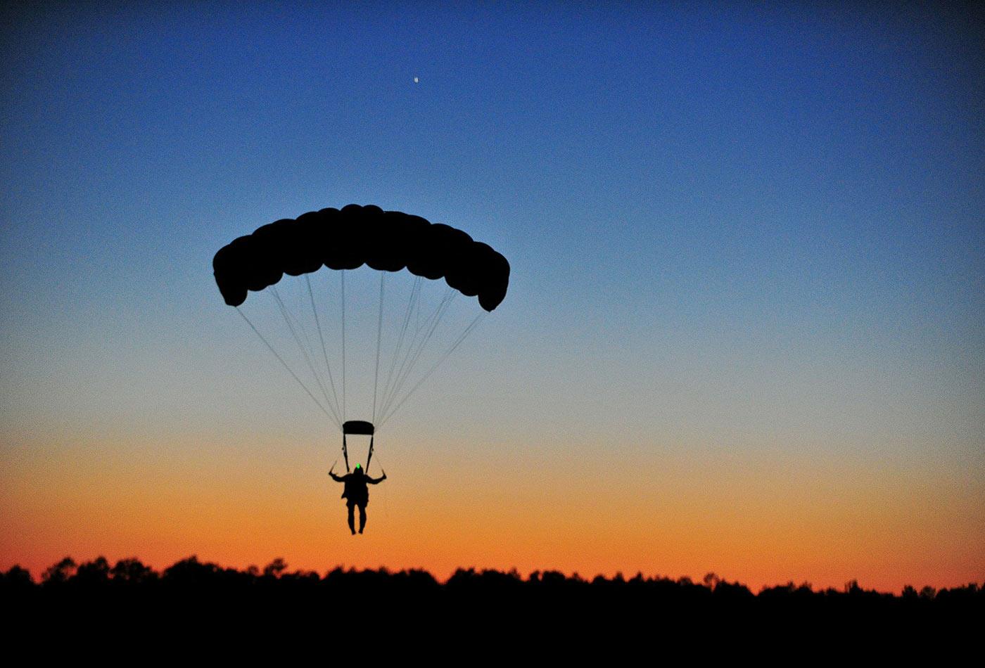 Parachuting.