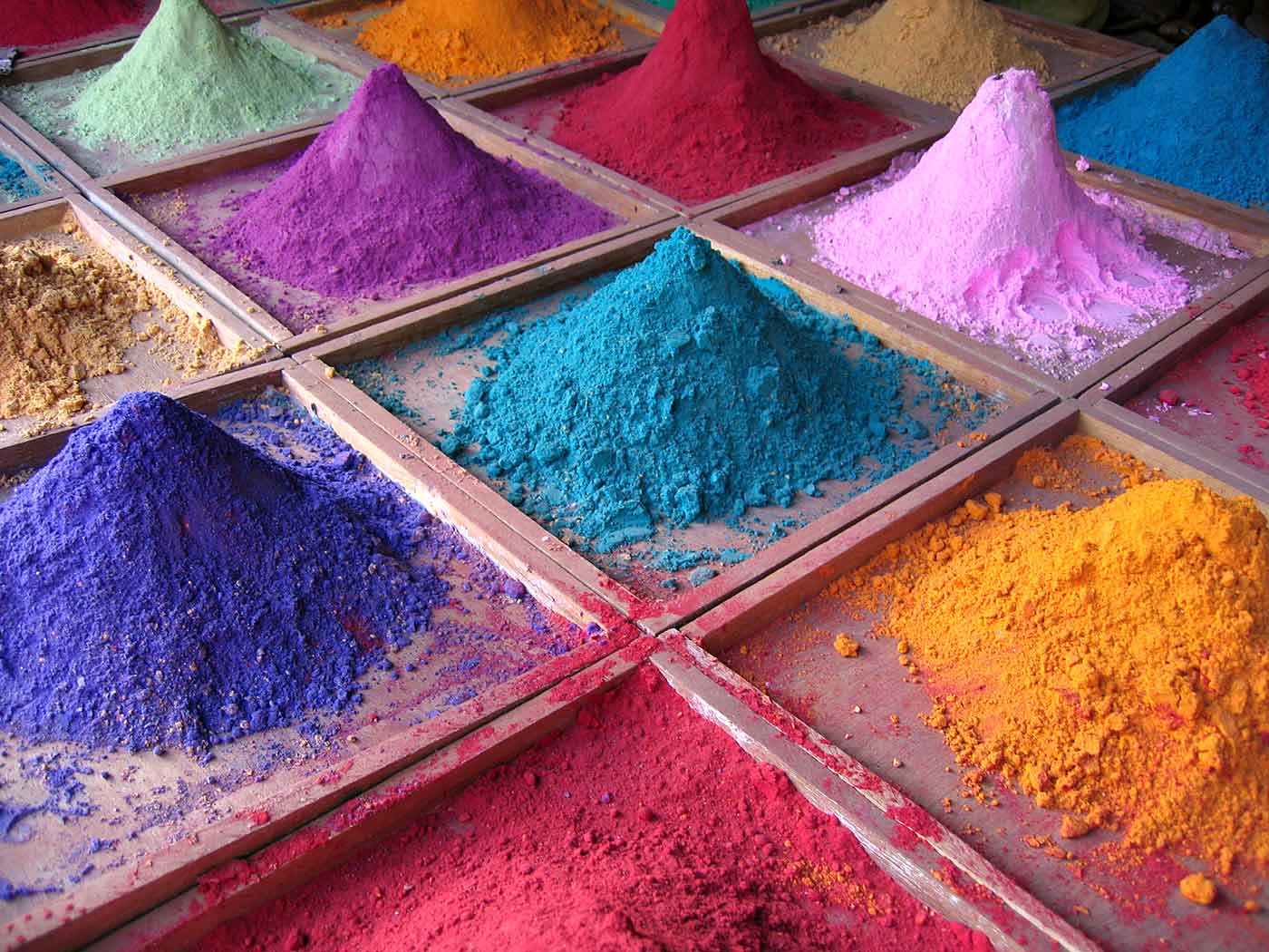 Pigments for sale in market in Goa, India.