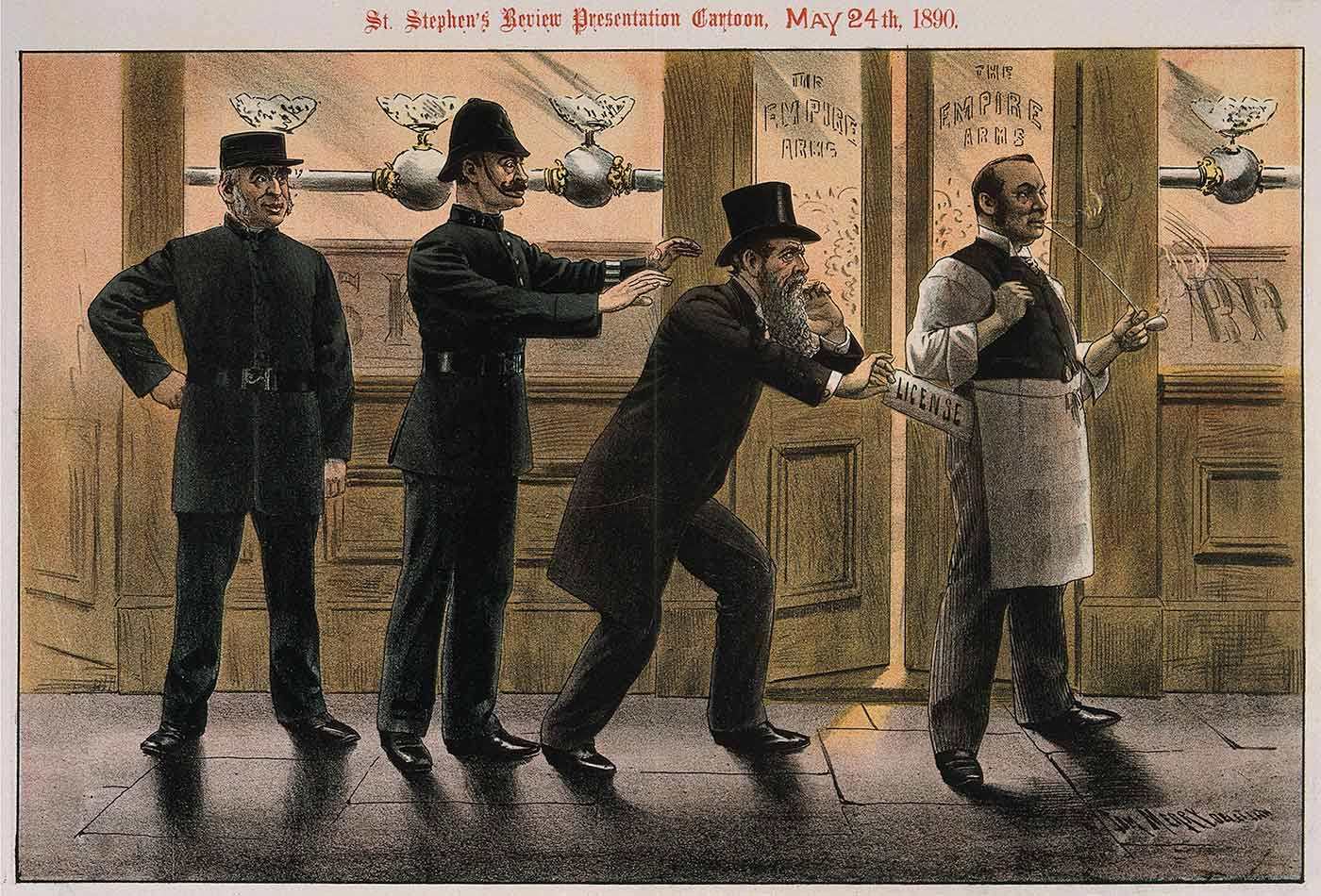 Caught in the Act, chromolithograph by T. Merry, 1890.