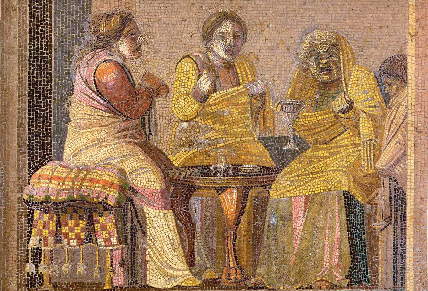Theatre scene: Two women making a call on a witch.