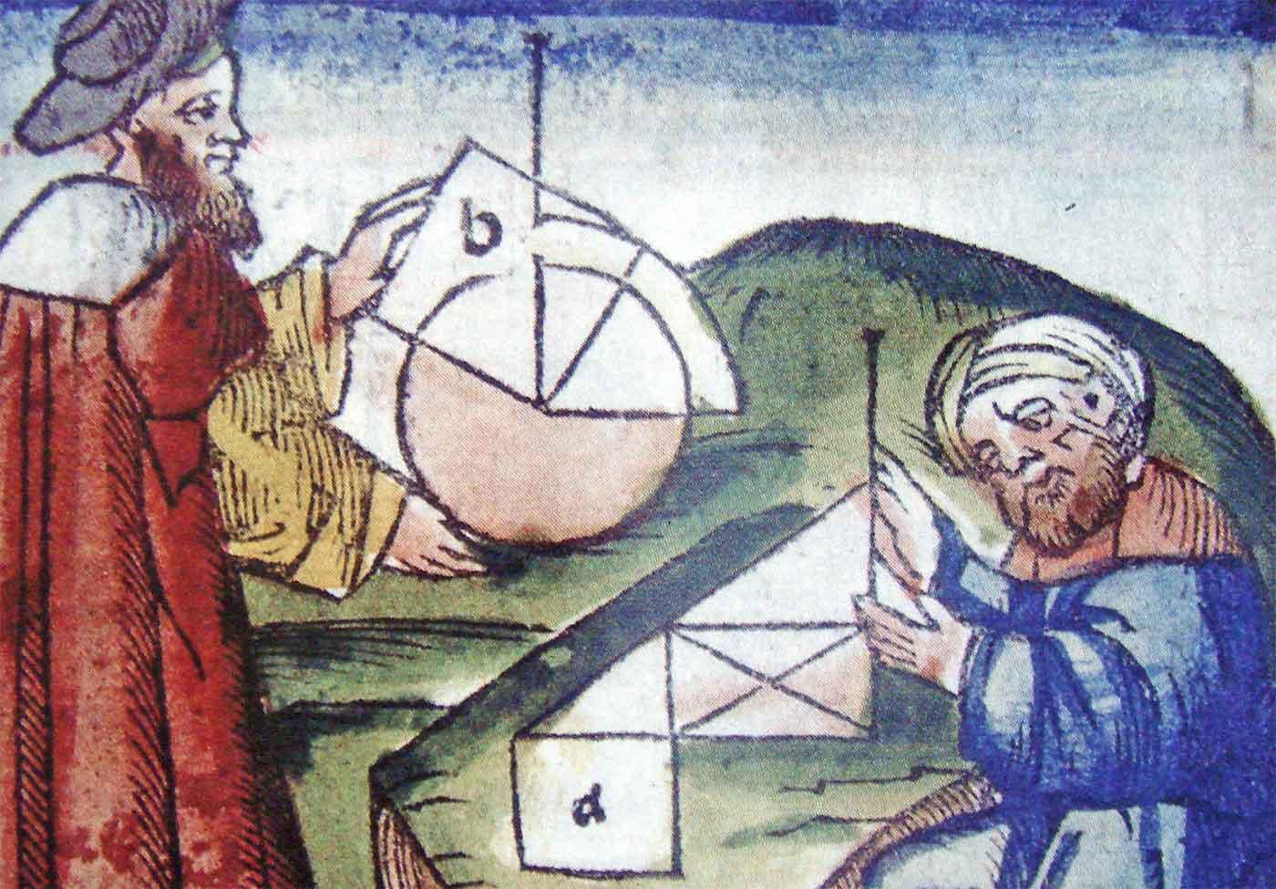 Practicing geometry 15th century manuscript
