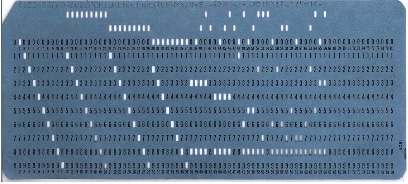 Front of a blue IBM-style punch card.