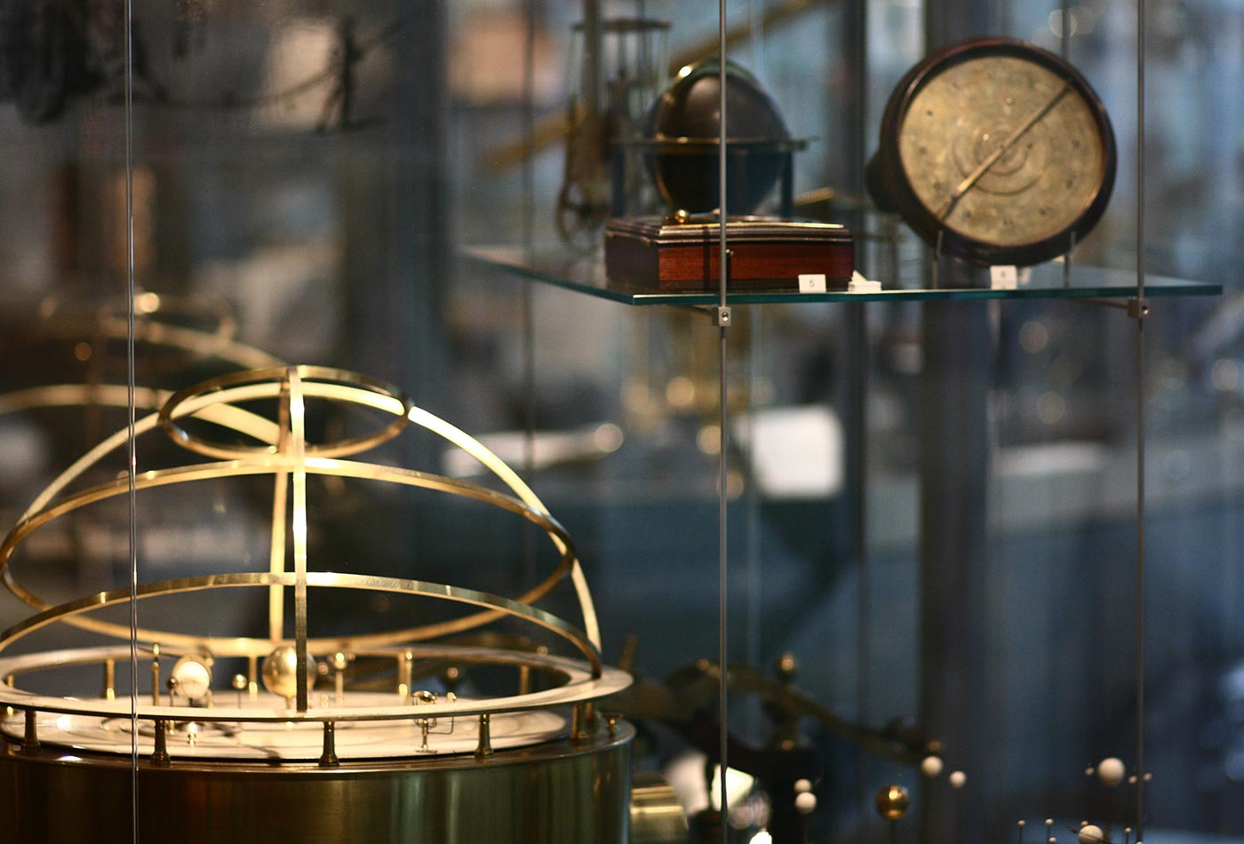 Historical scientific instruments on display in the Putnam Gallery of the Collection of Historical Scientific Instruments at Harvard University