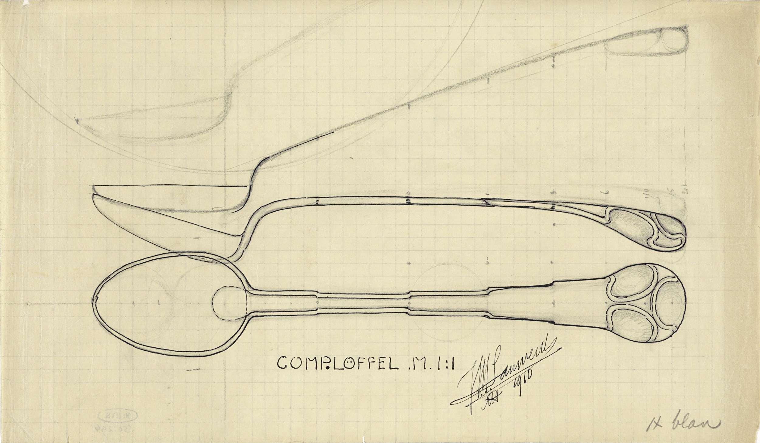 Ontwerp voor een compotelepel, Mathieu Lauweriks, 1910
