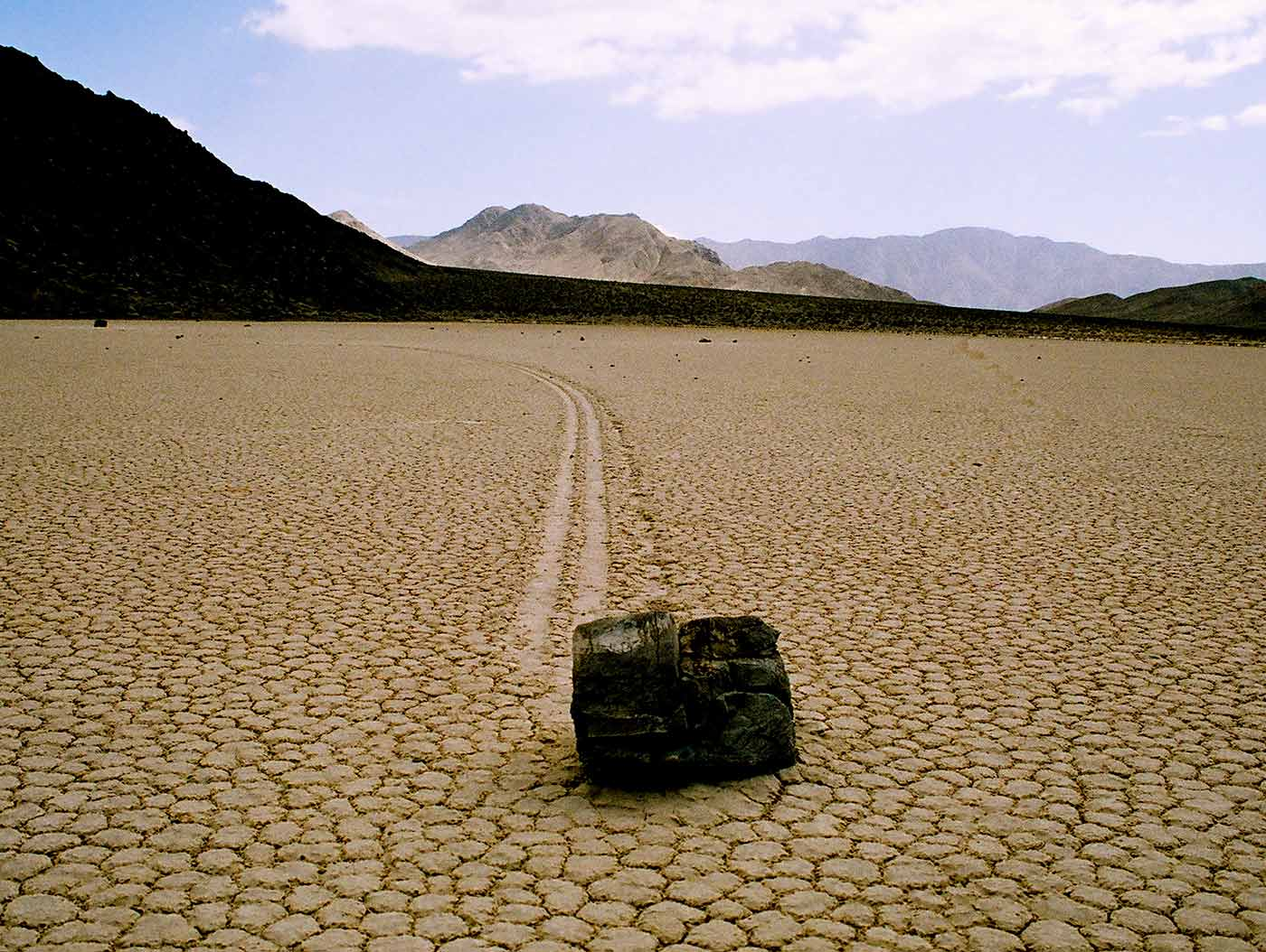 Sailing stone at The Racetrack in Death Valley.