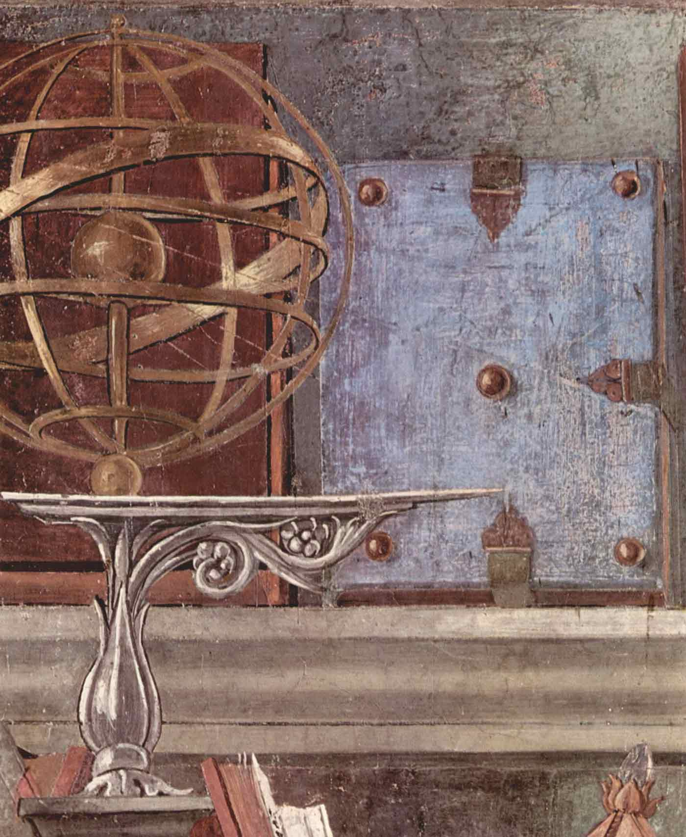 An armillary sphere in a painting by Sandro Botticelli, circa 1480.