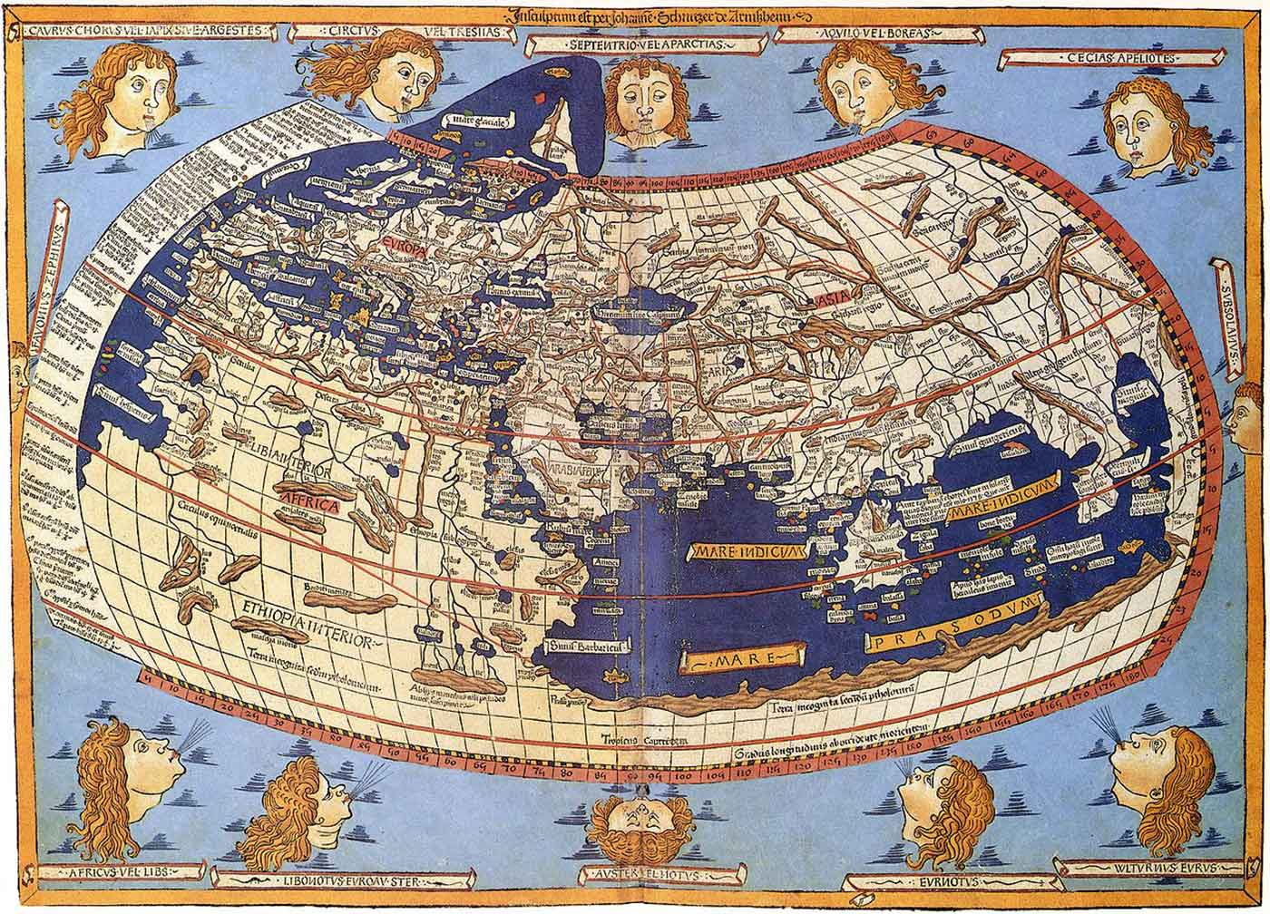 The world map from Leinhart Holle's 1482 edition of Nicolaus Germanus's emendations to Jacobus Angelus's 1406 Latin translation of Maximus Planudes's late-13th century rediscovered Greek manuscripts of Ptolemy's 2nd-century Geography.
