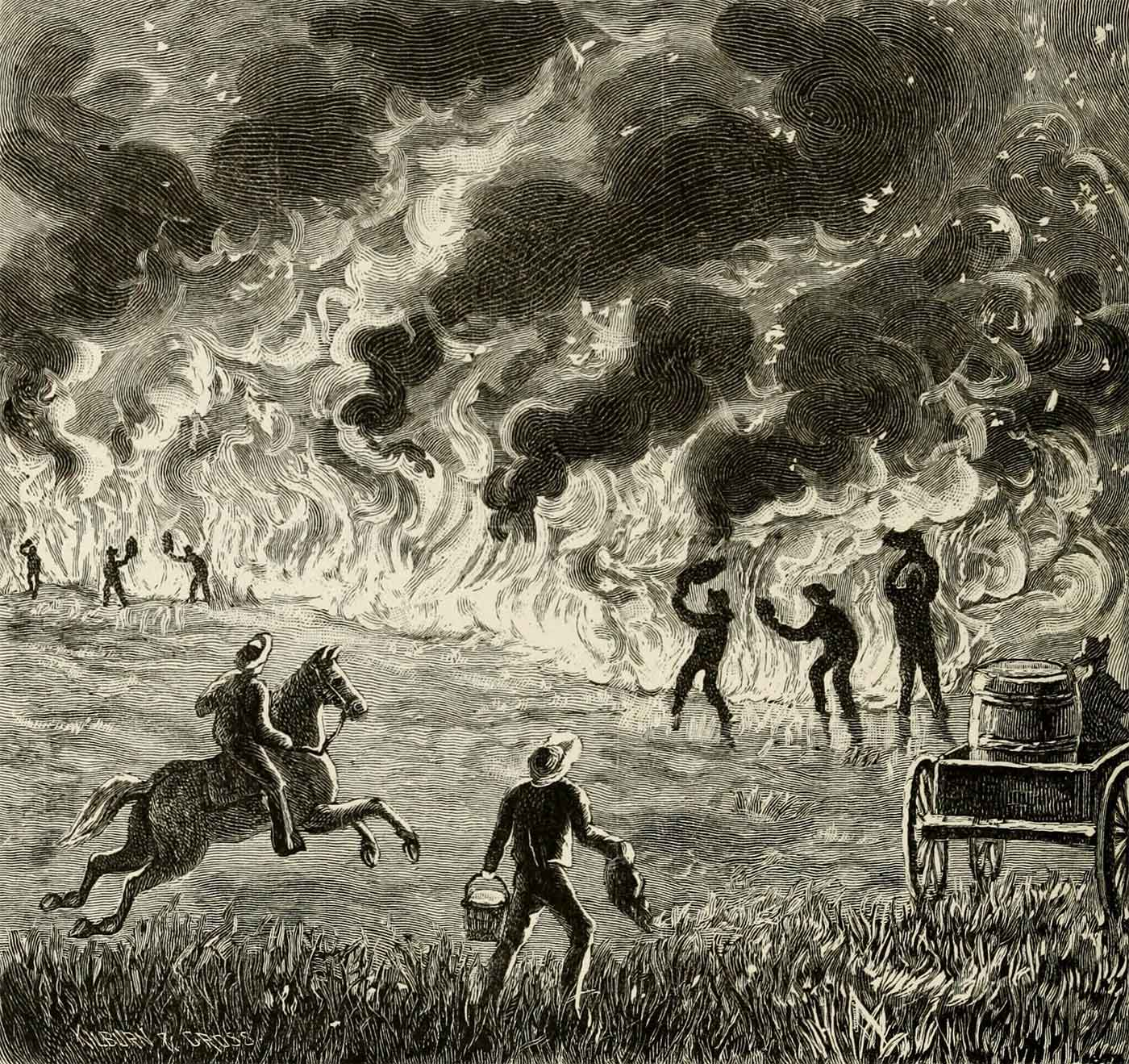 """Illustration of a fire from """"Marvels of the new West"""""""
