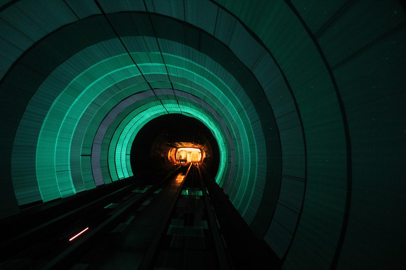 Green train tunnel