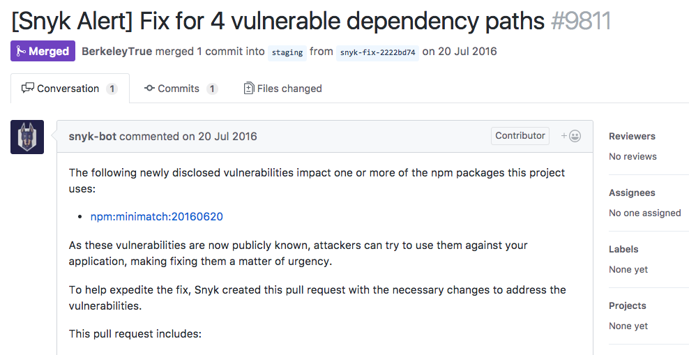 Example of a fix pull request