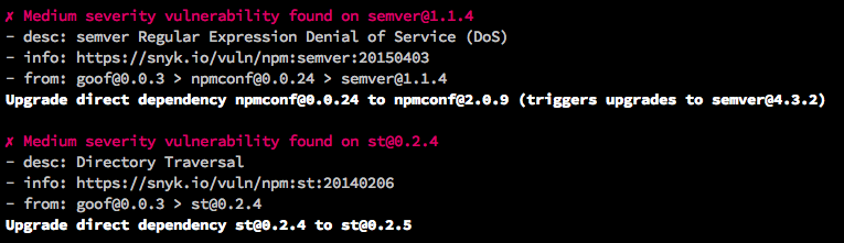 A sample CLI test, showing discovered issues with metadata