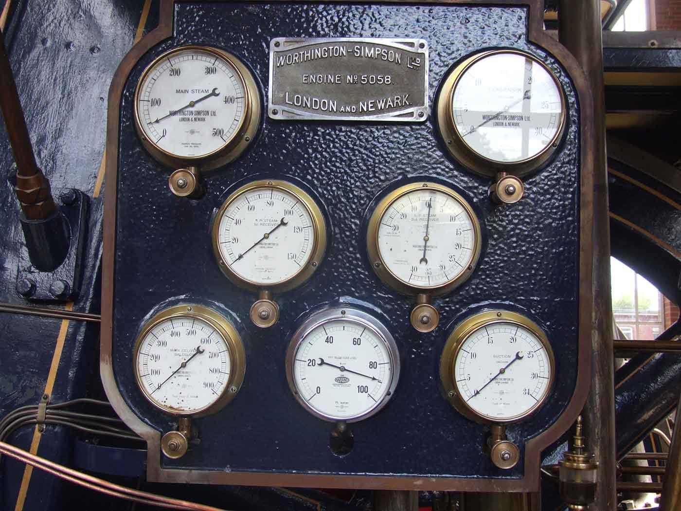 The dashboard of a steam engine