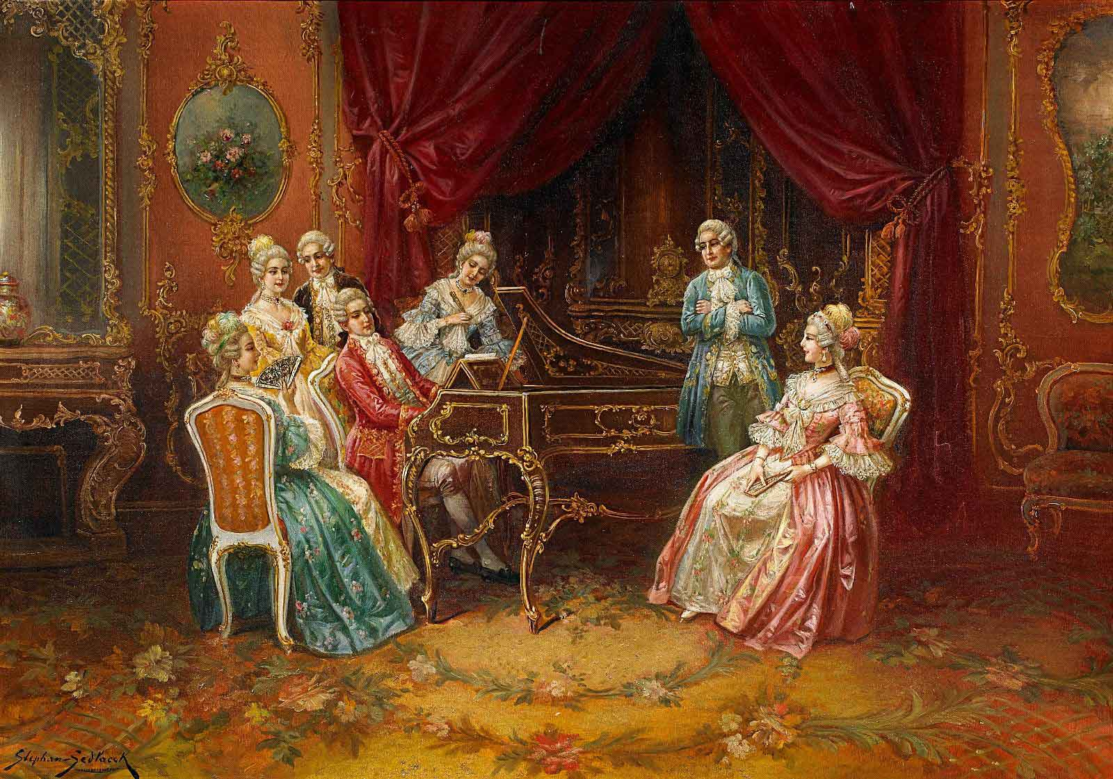 Der junge Mozart am Spinett.