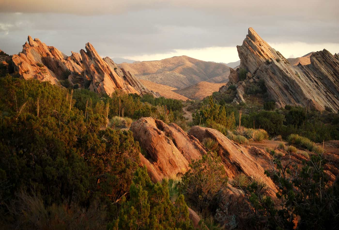 Vasquez Rocks in Agua Dulce, California are evidence of the San Andreas Faultline and part of the 2,650 mile Pacific Crest Trail.