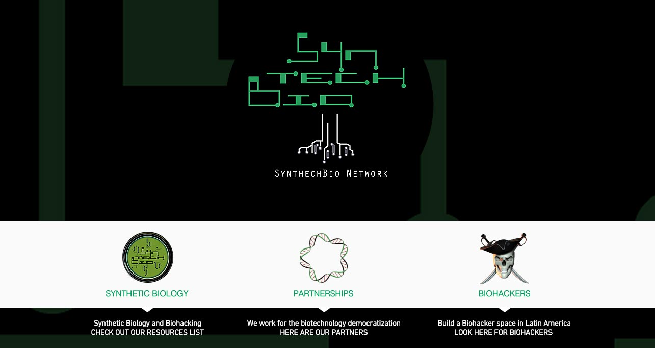 Screenshot from SyntechBio's website. SyntechBio was the first biohacker space in Latin America.