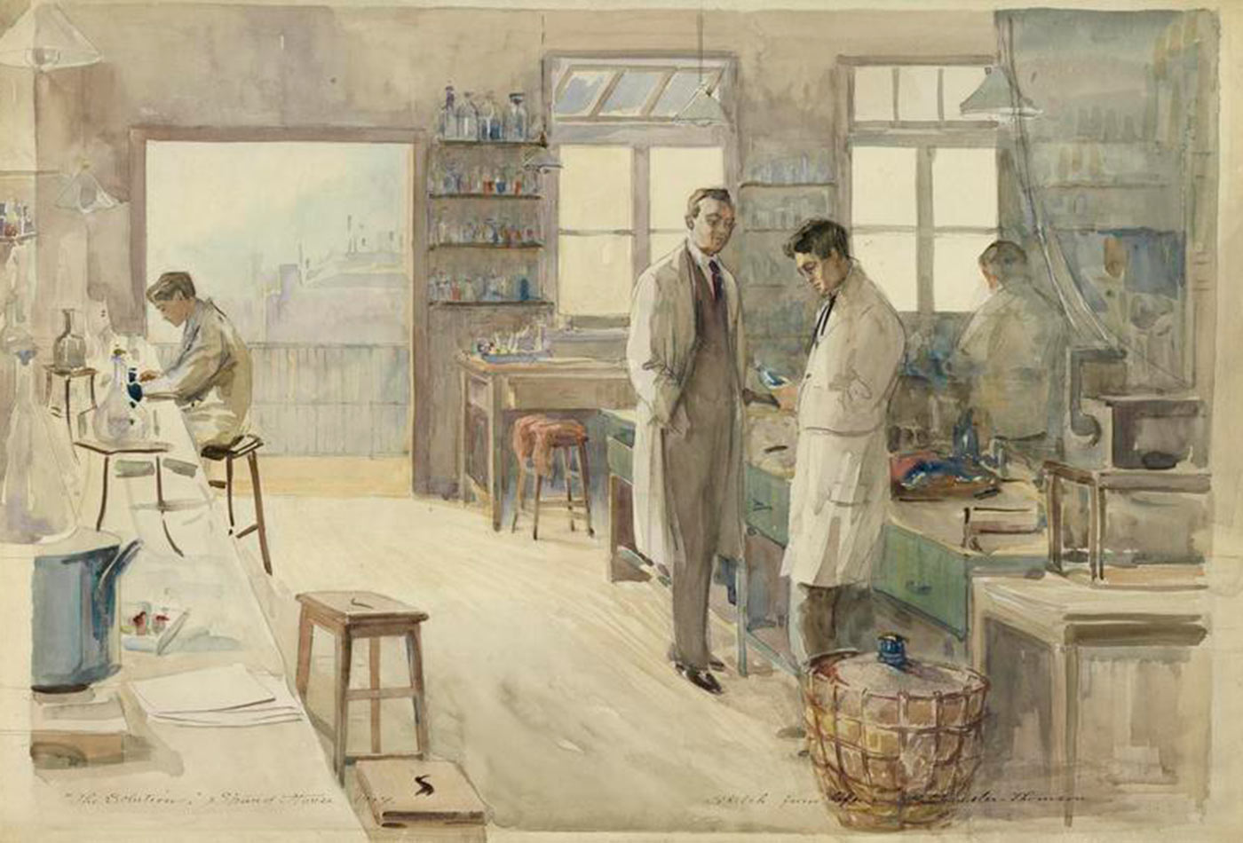 The Laboratory at Strand House, Portugal Street, London, 1917.