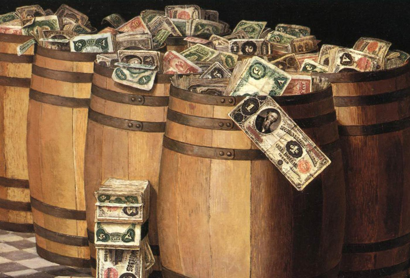 Barrels of Money, oil on canvas painting by Victor Dubreuil, c. 1897