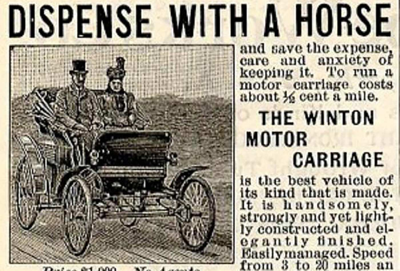 WintonMotor Carriage Company: The first automobile advertisement, Scientific American, February/March 1898.