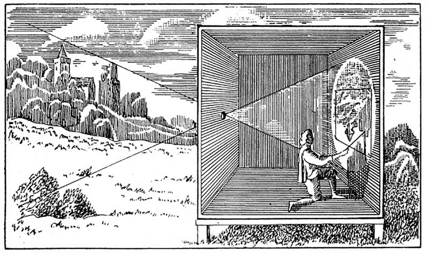 Refracting light woodcut
