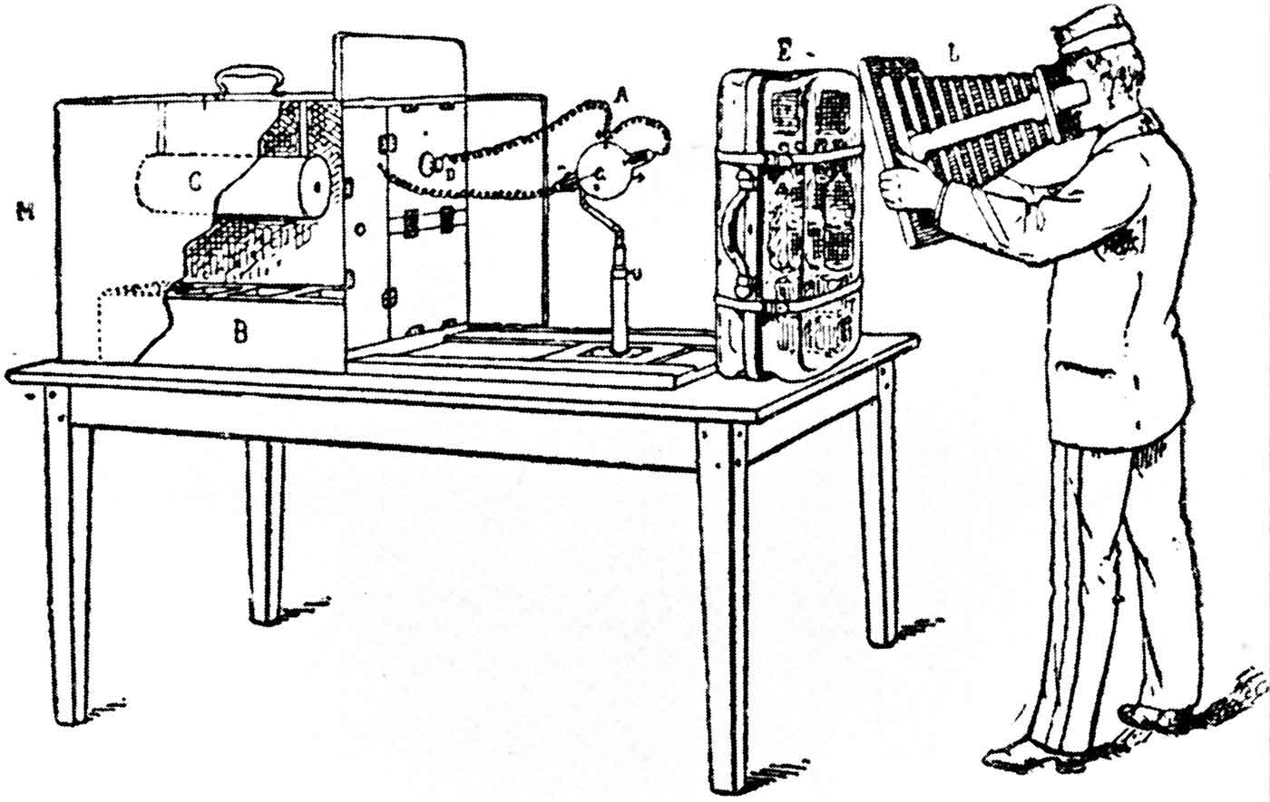 Drawing of an invention for using X-Rays to scan luggage