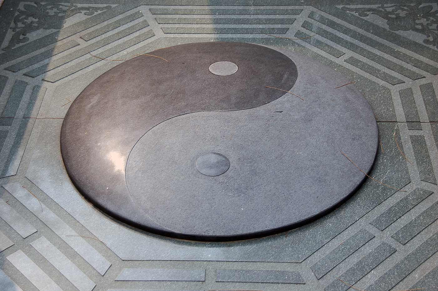 Yin Yang carved in stone.