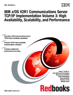 IBM z/OS V2R1 Communications Server TCP/IP Implementation Volume 3: High Availability, Scalability, and Performance