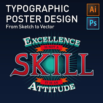 Typographic Poster Design - From Sketch to Vector