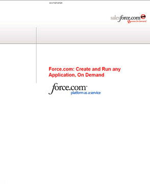Force.com: Create and Run any Application, On Demand
