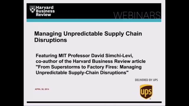 Managing Unpredictable Supply Chain Disruptions