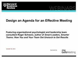 Design an Agenda for an Effective Meeting