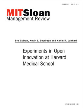 Experiments in Open Innovation at Harvard Medical School
