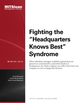 "Fighting the ""Headquarters Knows Best Syndrome"""