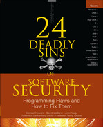 Cover of 24 Deadly Sins of Software Security: Programming Flaws and How to Fix Them