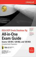 Cover of OCA/OCP Oracle Database 11g All-in-One Exam Guide with CD-ROM : Exams 1Z0-051, 1Z0-052, 1Z0-053