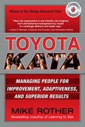 Cover of Toyota Kata: Managing People for Improvement, Adaptiveness and Superior Results