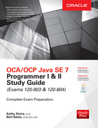 Book cover for OCA/OCP Java SE 7 Programmer I & II Study Guide (Exams 1Z0-803 & 1Z0-804)