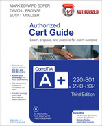 Cover of CompTIA A+ 220-801 and 220-802 Authorized Cert Guide, Third Edition