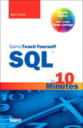 Cover of Sams Teach Yourself SQL in 10 Minutes, Fourth Edition