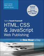 Cover of Sams Teach Yourself HTML, CSS & JavaScript Web Publishing in One Hour a Day, Covering HTML5, CSS3, and jQuery, Seventh Edition