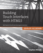 Cover of Building Touch Interfaces with HTML5: Develop and Design Speed up your site and create amazing user experiences