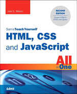 Cover of HTML, CSS and JavaScript All in One, Sams Teach Yourself: Covering HTML5, CSS3, and jQuery, Second Edition
