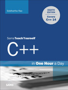 Cover of Sams Teach Yourself C++ in One Hour a Day, Eighth Edition