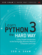 Cover of Learn Python 3 the Hard Way: A Very Simple Introduction to the Terrifyingly Beautiful World of Computers and Code