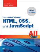 Cover of Sams Teach Yourself HTML, CSS, and JavaScript All in One, Third Edition