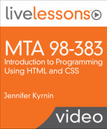 Cover of MTA 98-383: Introduction to Programming Using HTML and CSS LiveLessons
