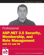 Cover of Professional ASP.NET 3.5 Security, Membership, and Role Management with C# and VB