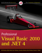 Cover of Professional Visual Basic® 2010 and .NET 4