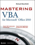 Cover of Mastering VBA for Microsoft® Office 2010