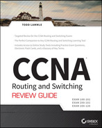 Cover of CCNA Routing and Switching Review Guide: Exams 100-101, 200-101, and 200-120